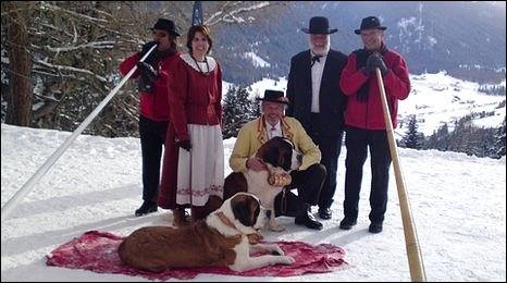 Swiss alphorn group in traditional costumes