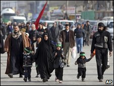 Iraqis making a pilgrimage to Karbala to mark the annual festival of Arbaeen.