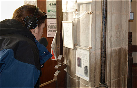 BBC Radio Norfolk's Becky Betts in Beachamwell Church, Norfolk