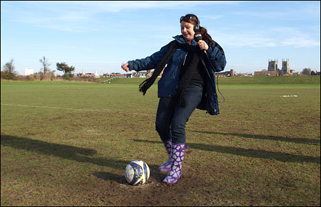 BBC Radio Norfolk's Becky Betts playing football with West Lynn Ladies' FC, Norfolk
