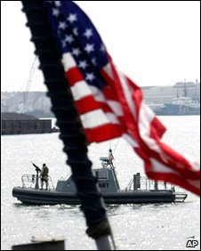 A US Navy boat seen from the deck of a US military ship docked in Manama, Bahrain, on 20 Jan 2010