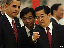 Presidents Barack Obama (left) and Hu Jintao (right)
