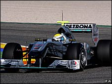 Nico Rosberg in the new Mercedes F1 car at Valencia testing