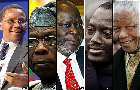 L-R: Tanzania's Jakaya Kikwete, Nigeria's Olusegun Obasanjo, the late John Garang, DRC's Joseph Kabila,South Africa's Nelson Mandela