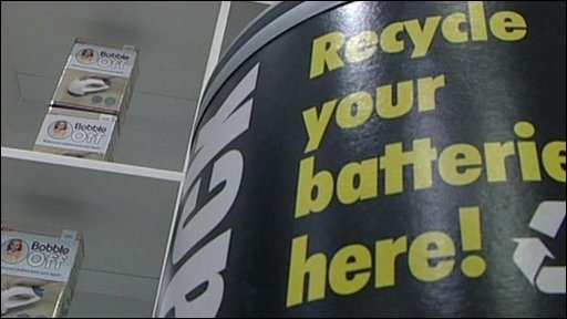 Battery recycle bins