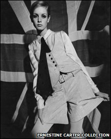 Twiggy wears a Mary Quant outfit from 1966