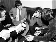 The Beatles being interviewed