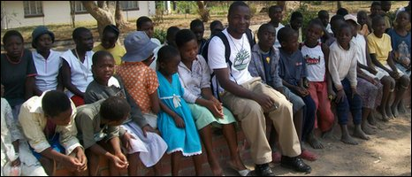 Tendai Sean Joe with the children that his foundation helps