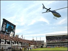 Robinho arrives at Vila Belmiro stadium during his official presentation as a Santos player