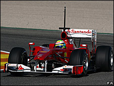 Felipe Massa in the Ferrari F10