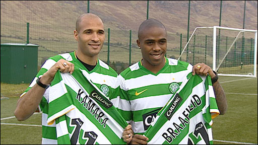 Celtic new loan signings Diamansy Kamara (left) and Edson Braafheid