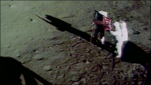 Archive footage of US astronauts landing on the Moon