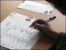 Voter filling in ballot paper