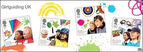 A miniature sheet of four Girlguiding stamps
