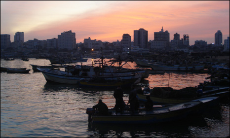 Dawn in gaza harbour