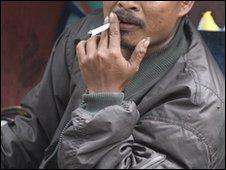 Indonesian man smoking (file image)