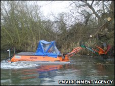 Environment Agency workboat on the Great Stour
