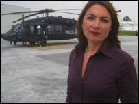 Katya Adler at Mexico's Federal Police operational headquarters in Mexico City