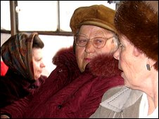 Crimean women talking on a local trolley bus