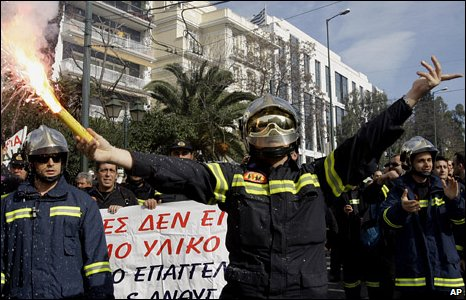 Greek firefirghters protest over planned spending cuts