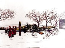Crashed Heinkel with dead crew member lying in snow. Illustration: Stuart Macmillan