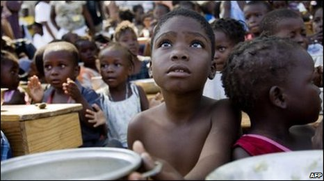 Children at a feeding centre in Haiti