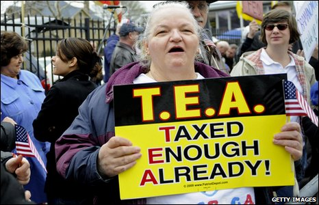 Demonstrator with T.E.A. Taxed Enough Already poster