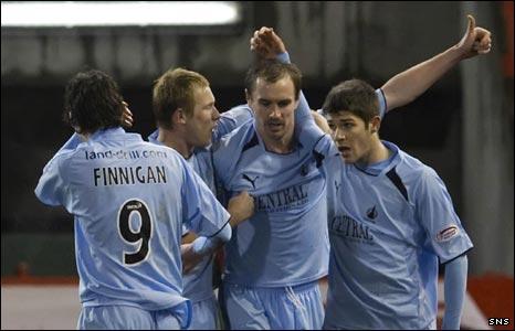 Falkirk celebrate Colin Healy's goal