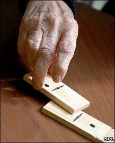 patient playing dominoes