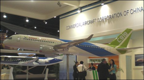 Comac aircraft model at the Singapore air show