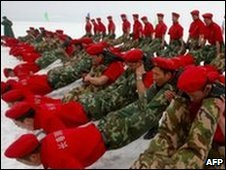 Chinese soldiers undergo winter training at a military camp in Changchun, northeast China
