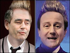 Gordon Brown as Jedward in Conservative poster, and David Cameron as Jedward in Labour poster