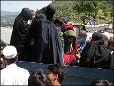 File image of women fleeing fighting in Lower Dir