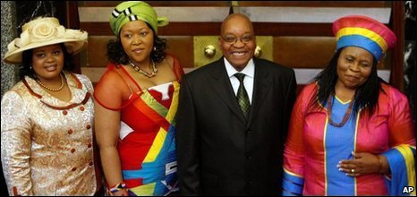 Jacob Zuma and his three wives Sizakele Khumalo, right, Nompumelo Ntuli, left, and Tobeka Madiba, second left