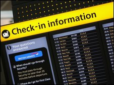 Check-in board at Heathrow Terminal 5