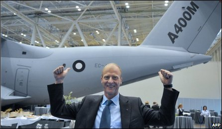 Airbus chief executive Tom Enders with the Airbus A400M