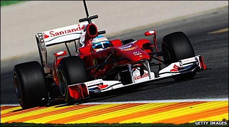 Fernando Alonso in the new Ferrari at Valencia