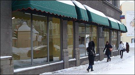 Empty shop windows in Riga, February 2010