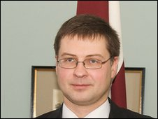 Latvian Prime Minister Valdis Dombrovskis after a press conference  castle some 70 km from Latvian capital Riga on January 22, 2010