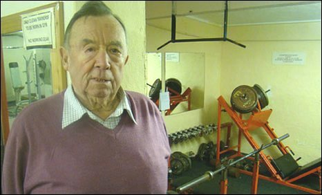 Ted McKibbin at the gym he founded in Burry Port  in 1957