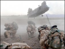 RAF Chinook helicopter landing in Afghanistan