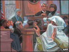 Courtroom sketch of the trial of Aafia Siddiqui - 3 February 2010