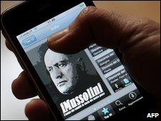 "An Apple""s Iphone user shows an application from the Italian Itunes store called IMussolini on January 28, 2010 in Rome"