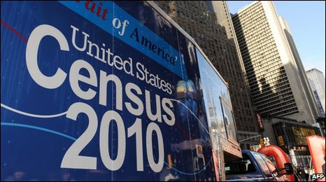 Truck shows Portrait of America - part of a road tour informing people about the US census
