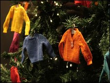 Miniature jumpers as Christmas baubles