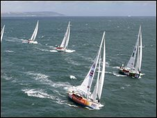 Clipper yachts sailing near Hull