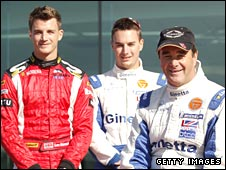 Nigel Mansell (right) with sons Leo (left) and Greg