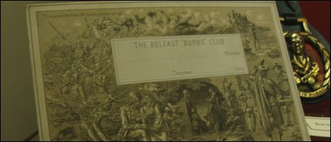 Belfast Burns Club membership card dating from 1896