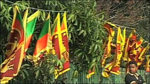 Sri Lankan flags are put up for independence day