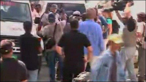 US missionaries arrive at Haitian court